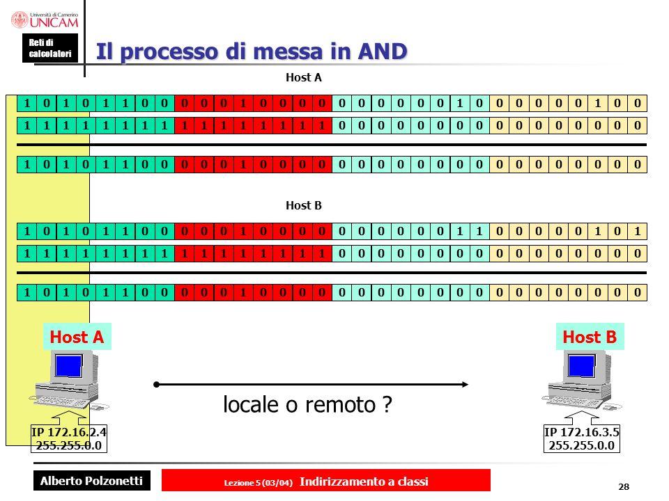 Alberto Polzonetti Reti di calcolatori Lezione 5 (03/04) Indirizzamento a classi 28 Il processo di messa in AND Host A IP 172.16.2.4 255.255.0.0 Host B IP 172.16.3.5 255.255.0.0 locale o remoto .
