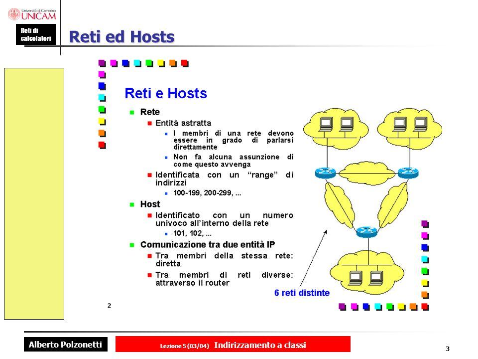 Alberto Polzonetti Reti di calcolatori Lezione 5 (03/04) Indirizzamento a classi 3 Reti ed Hosts