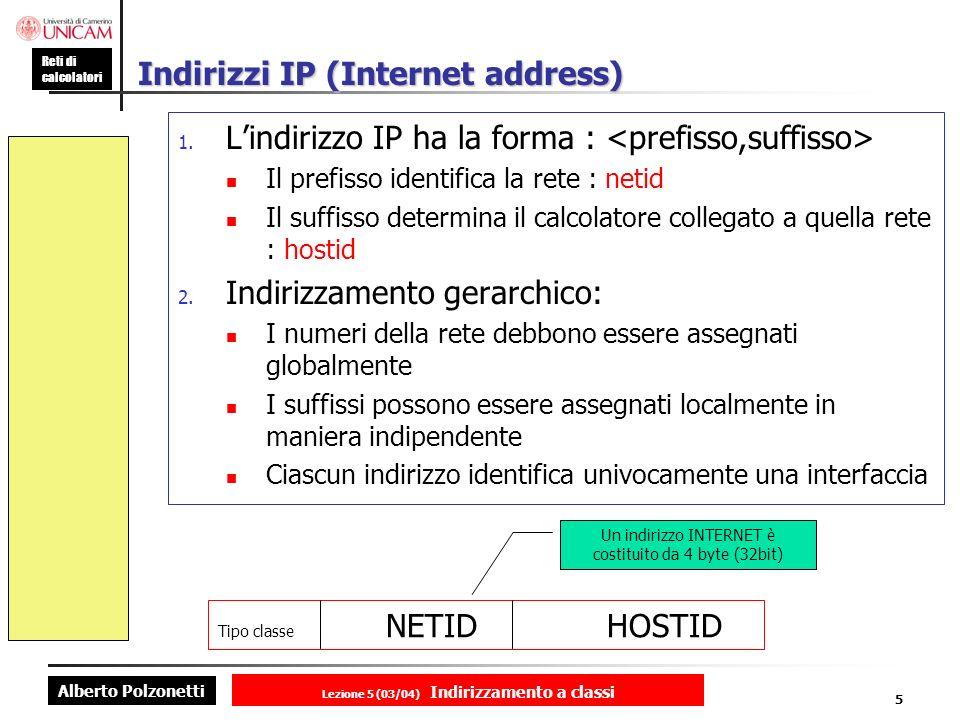 Alberto Polzonetti Reti di calcolatori Lezione 5 (03/04) Indirizzamento a classi 5 Indirizzi IP (Internet address) 1.