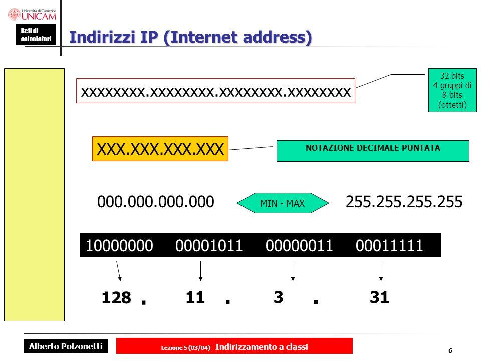 Alberto Polzonetti Reti di calcolatori Lezione 5 (03/04) Indirizzamento a classi 6 Indirizzi IP (Internet address) xxxxxxxx.xxxxxxxx.xxxxxxxx.xxxxxxxx 32 bits 4 gruppi di 8 bits (ottetti) XXX.XXX.XXX.XXX NOTAZIONE DECIMALE PUNTATA 000.000.000.000255.255.255.255 MIN - MAX 10000000 00001011 00000011 00011111 128.