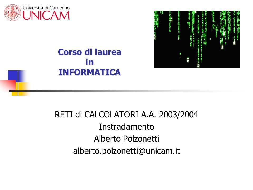 Alberto Polzonetti Reti di calcolatori Instradamento 2 Instradamento (Forwarding) Operazione comune a tutte le macchine con stack TCP/IP Router, end systems Il procedimento si applica: Se lhost in esame è il mittente del pacchetto Router intermedio sul percorso verso la destinazione