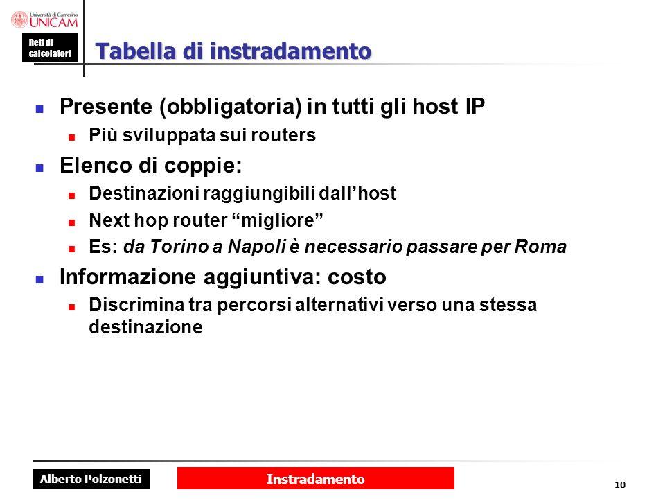 Alberto Polzonetti Reti di calcolatori Instradamento 10 Tabella di instradamento Presente (obbligatoria) in tutti gli host IP Più sviluppata sui route