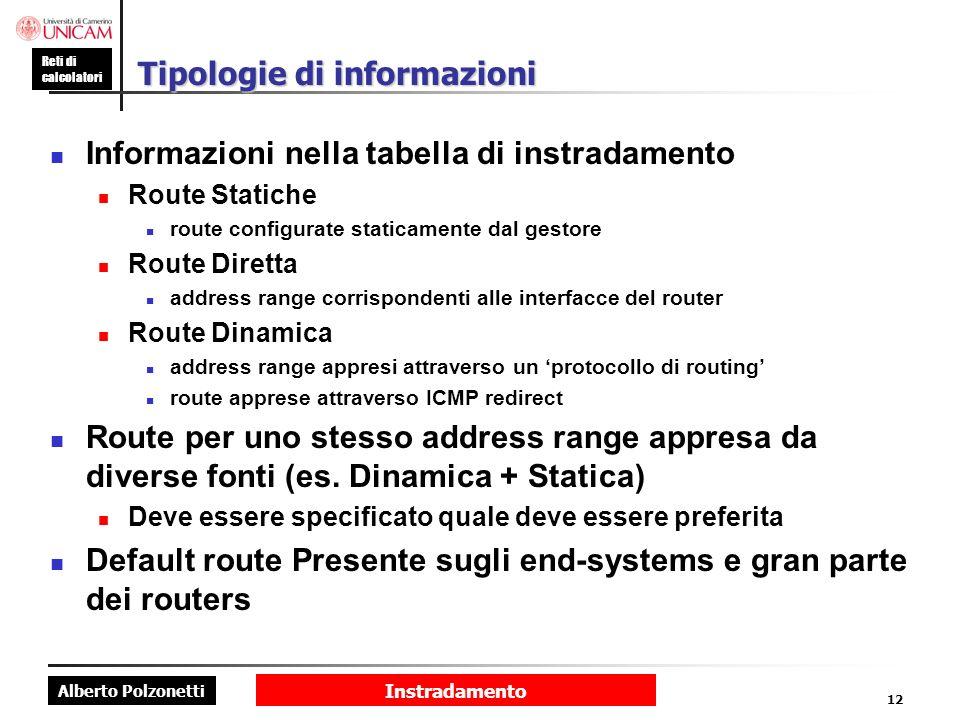 Alberto Polzonetti Reti di calcolatori Instradamento 12 Tipologie di informazioni Informazioni nella tabella di instradamento Route Statiche route con