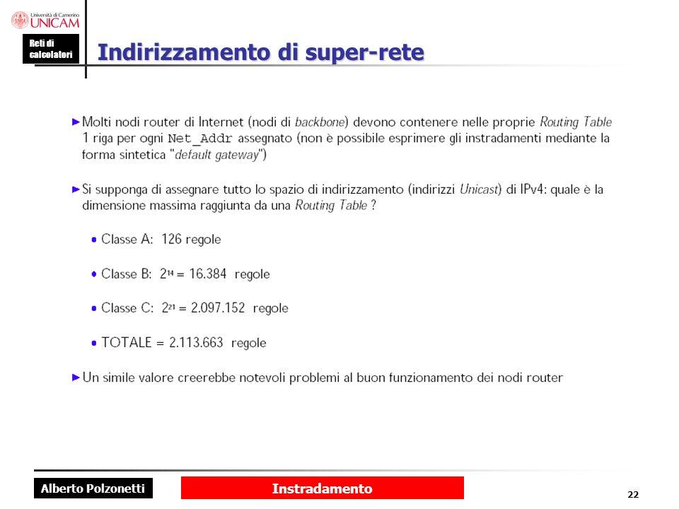 Alberto Polzonetti Reti di calcolatori Instradamento 22 Indirizzamento di super-rete