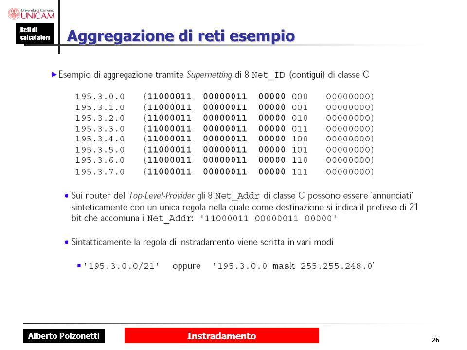 Alberto Polzonetti Reti di calcolatori Instradamento 26 Aggregazione di reti esempio