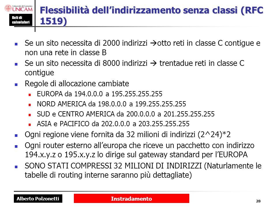 Alberto Polzonetti Reti di calcolatori Instradamento 28 Flessibilità dellindirizzamento senza classi (RFC 1519) Se un sito necessita di 2000 indirizzi