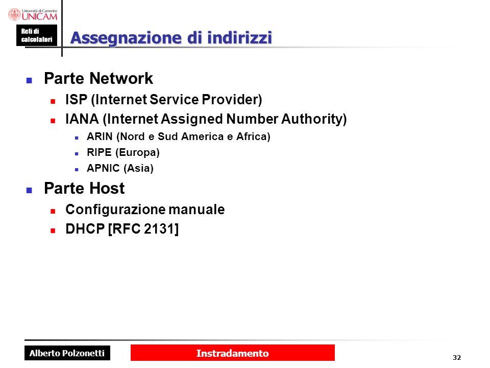 Alberto Polzonetti Reti di calcolatori Instradamento 32 Assegnazione di indirizzi Parte Network ISP (Internet Service Provider) IANA (Internet Assigne