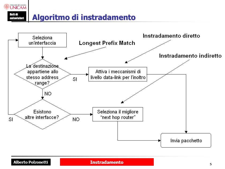 Alberto Polzonetti Reti di calcolatori Instradamento 16 Tabella di un host (2) 0.0.0.0 0.0.0.0: route di default; viene utilizzata per linoltro di tutte le route che non sono coperte da altre route più specifiche.