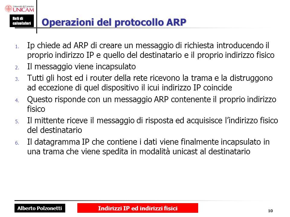 Alberto Polzonetti Reti di calcolatori Indirizzi IP ed indirizzi fisici 10 Operazioni del protocollo ARP 1. Ip chiede ad ARP di creare un messaggio di