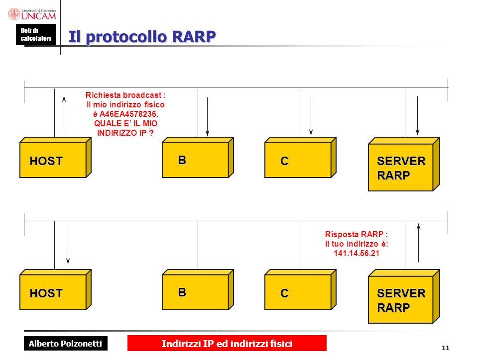 Alberto Polzonetti Reti di calcolatori Indirizzi IP ed indirizzi fisici 11 Il protocollo RARP Richiesta broadcast : Il mio indirizzo fisico è A46EA457