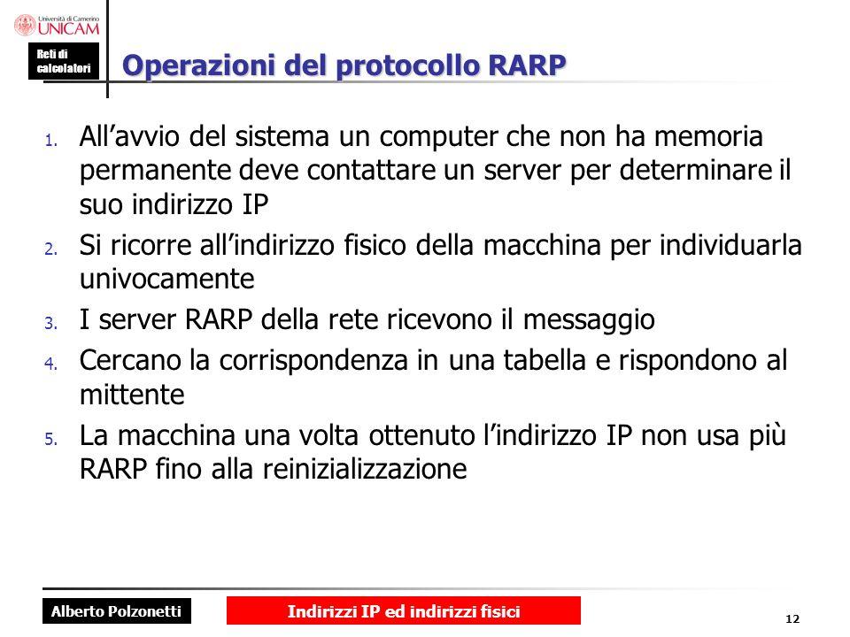 Alberto Polzonetti Reti di calcolatori Indirizzi IP ed indirizzi fisici 12 Operazioni del protocollo RARP 1. Allavvio del sistema un computer che non