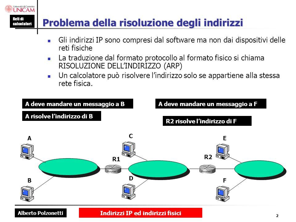 Alberto Polzonetti Reti di calcolatori Indirizzi IP ed indirizzi fisici 2 Problema della risoluzione degli indirizzi Gli indirizzi IP sono compresi da