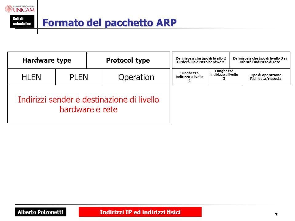 Alberto Polzonetti Reti di calcolatori Indirizzi IP ed indirizzi fisici 7 Formato del pacchetto ARP Indirizzi sender e destinazione di livello hardwar