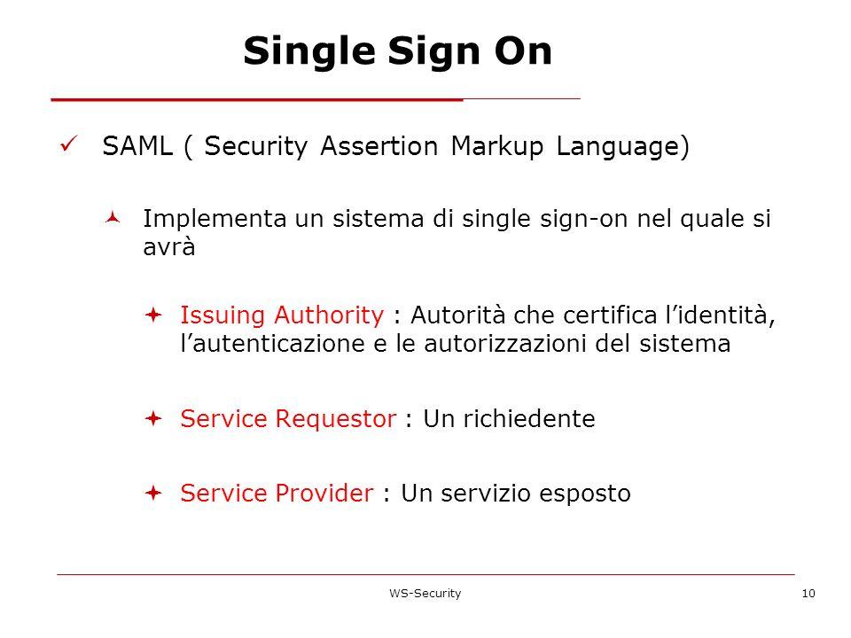 Single Sign On SAML ( Security Assertion Markup Language) Implementa un sistema di single sign-on nel quale si avrà Issuing Authority : Autorità che c