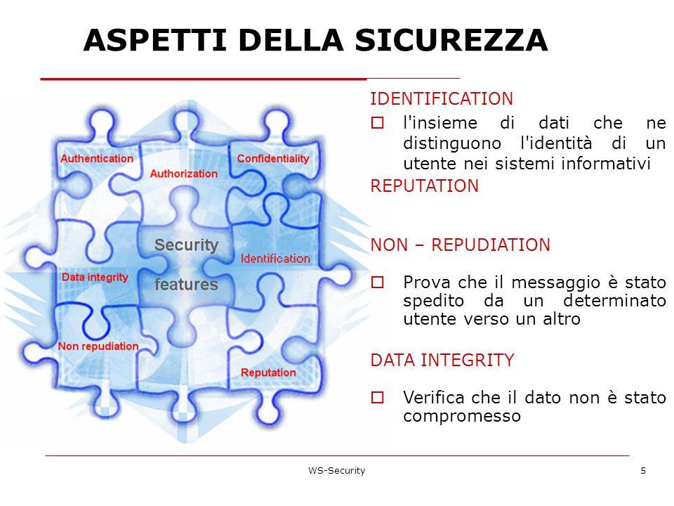 ASPETTI DELLA SICUREZZA WS-Security5 IDENTIFICATION l'insieme di dati che ne distinguono l'identità di un utente nei sistemi informativi REPUTATION NO