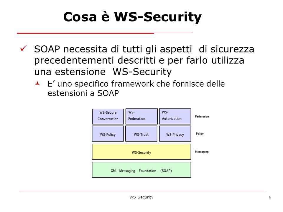 Cosa è WS-Security SOAP necessita di tutti gli aspetti di sicurezza precedentementi descritti e per farlo utilizza una estensione WS-Security E uno sp