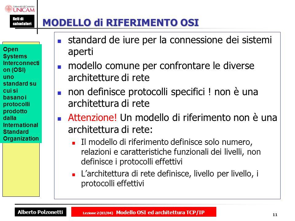 Alberto Polzonetti Reti di calcolatori Lezione 2 (03/04) Modello OSI ed architettura TCP/IP 11 MODELLO di RIFERIMENTO OSI standard de iure per la conn