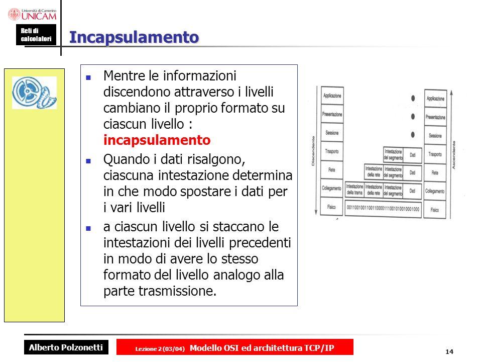 Alberto Polzonetti Reti di calcolatori Lezione 2 (03/04) Modello OSI ed architettura TCP/IP 14 Incapsulamento Mentre le informazioni discendono attrav
