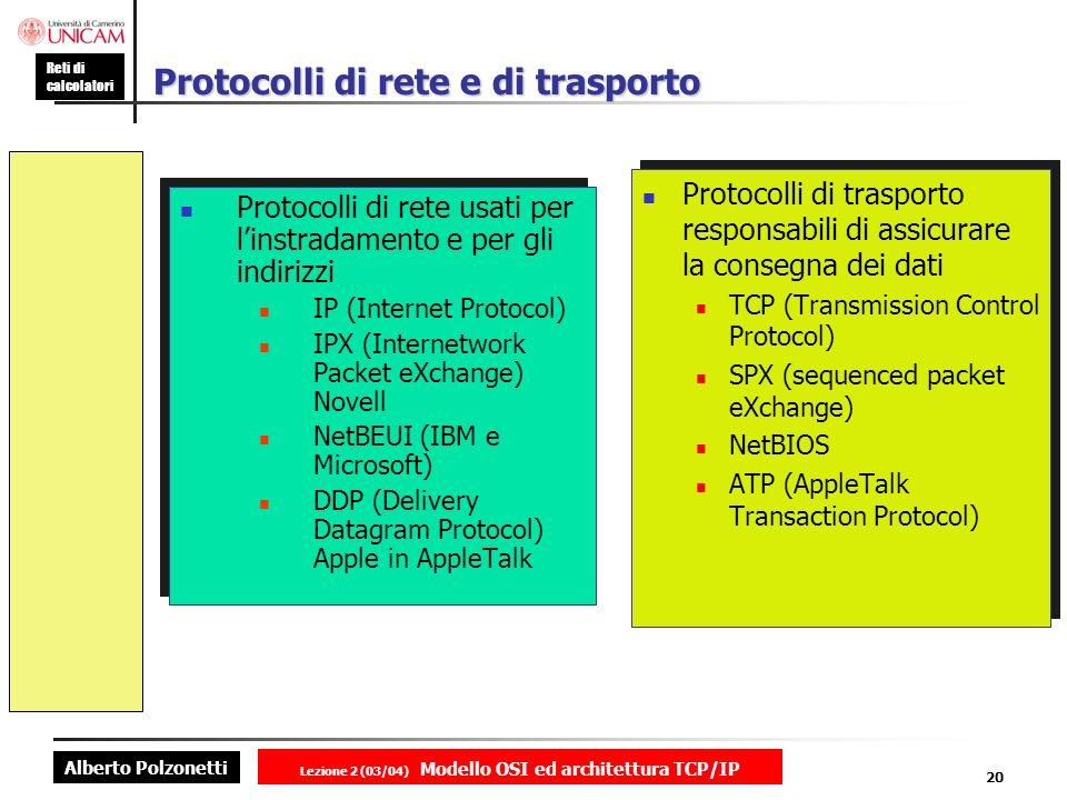 Alberto Polzonetti Reti di calcolatori Lezione 2 (03/04) Modello OSI ed architettura TCP/IP 20 Protocolli di rete e di trasporto Protocolli di rete us