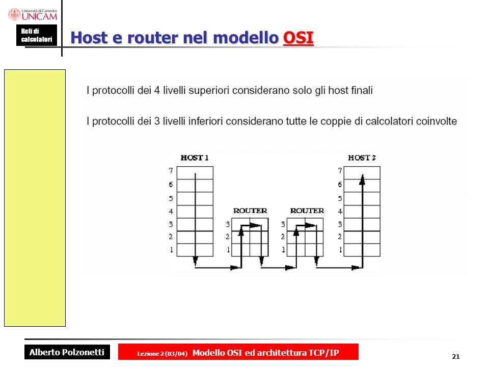 Alberto Polzonetti Reti di calcolatori Lezione 2 (03/04) Modello OSI ed architettura TCP/IP 21 Host e router nel modello OSI OSI