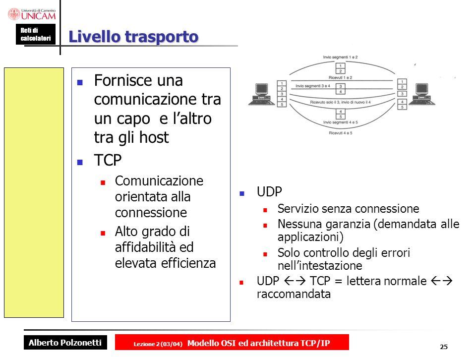 Alberto Polzonetti Reti di calcolatori Lezione 2 (03/04) Modello OSI ed architettura TCP/IP 25 Livello trasporto Fornisce una comunicazione tra un cap
