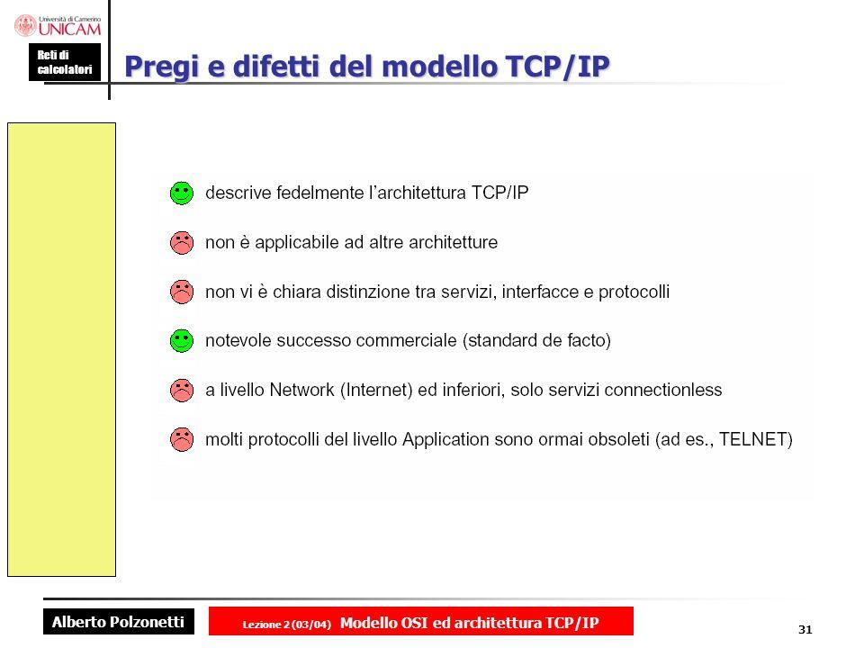 Alberto Polzonetti Reti di calcolatori Lezione 2 (03/04) Modello OSI ed architettura TCP/IP 31 Pregi e difetti del modello TCP/IP