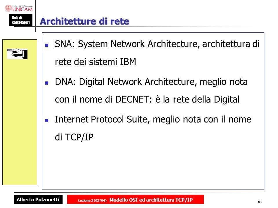 Alberto Polzonetti Reti di calcolatori Lezione 2 (03/04) Modello OSI ed architettura TCP/IP 36 Architetture di rete SNA: System Network Architecture,