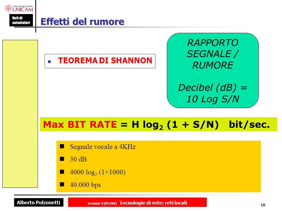 Alberto Polzonetti Reti di calcolatori Lezione 3 (03/04) Tecnologie di rete: reti locali 10 Effetti del rumore TEOREMA DI SHANNON RAPPORTO SEGNALE / R