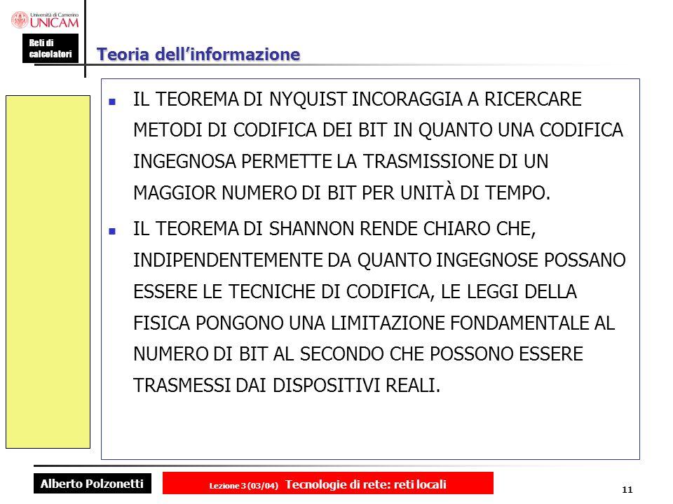 Alberto Polzonetti Reti di calcolatori Lezione 3 (03/04) Tecnologie di rete: reti locali 11 Teoria dellinformazione IL TEOREMA DI NYQUIST INCORAGGIA A