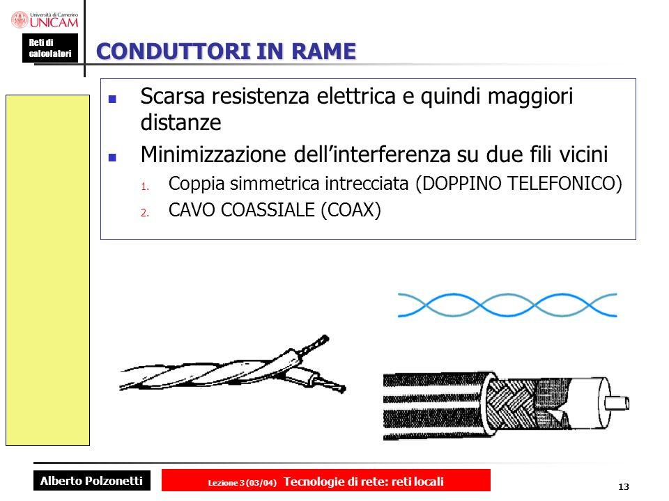 Alberto Polzonetti Reti di calcolatori Lezione 3 (03/04) Tecnologie di rete: reti locali 13 CONDUTTORI IN RAME Scarsa resistenza elettrica e quindi ma