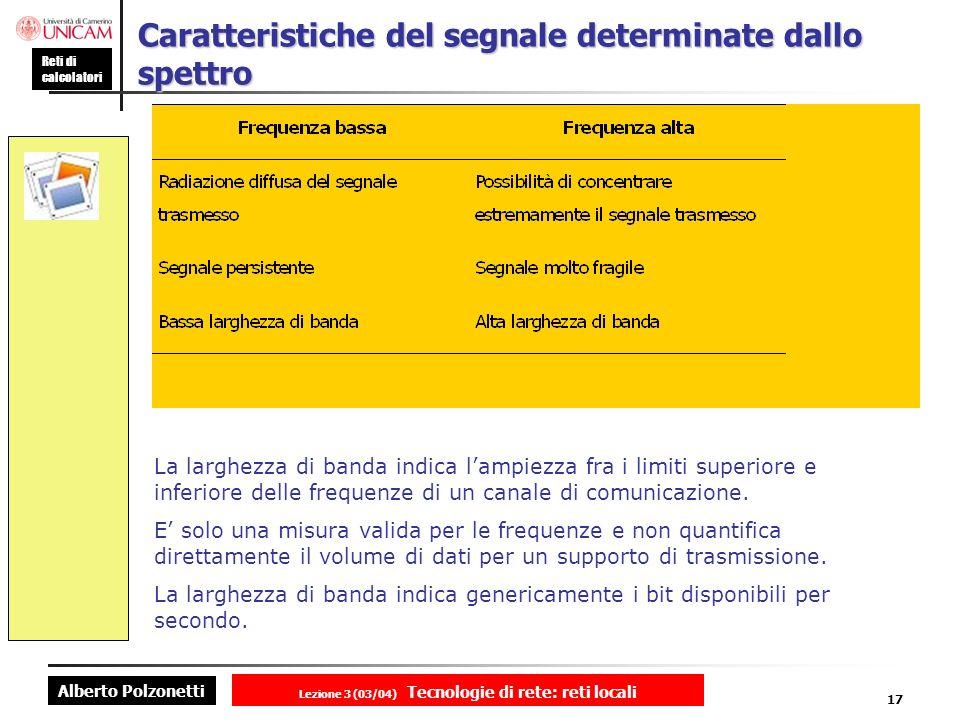 Alberto Polzonetti Reti di calcolatori Lezione 3 (03/04) Tecnologie di rete: reti locali 17 Caratteristiche del segnale determinate dallo spettro La l