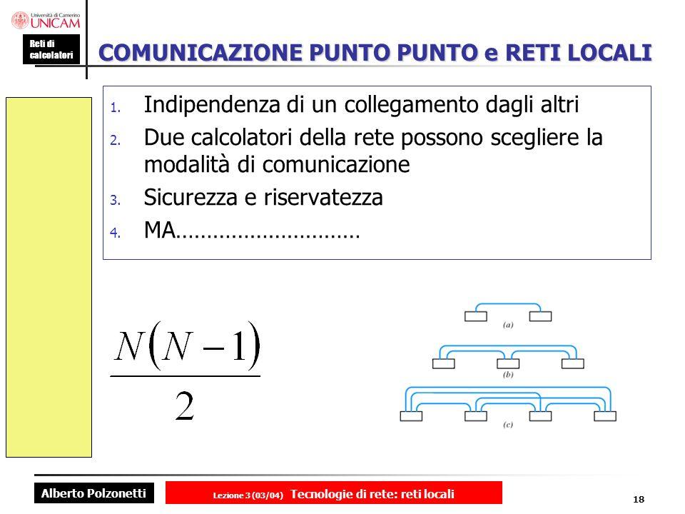 Alberto Polzonetti Reti di calcolatori Lezione 3 (03/04) Tecnologie di rete: reti locali 18 COMUNICAZIONE PUNTO PUNTO e RETI LOCALI 1. Indipendenza di