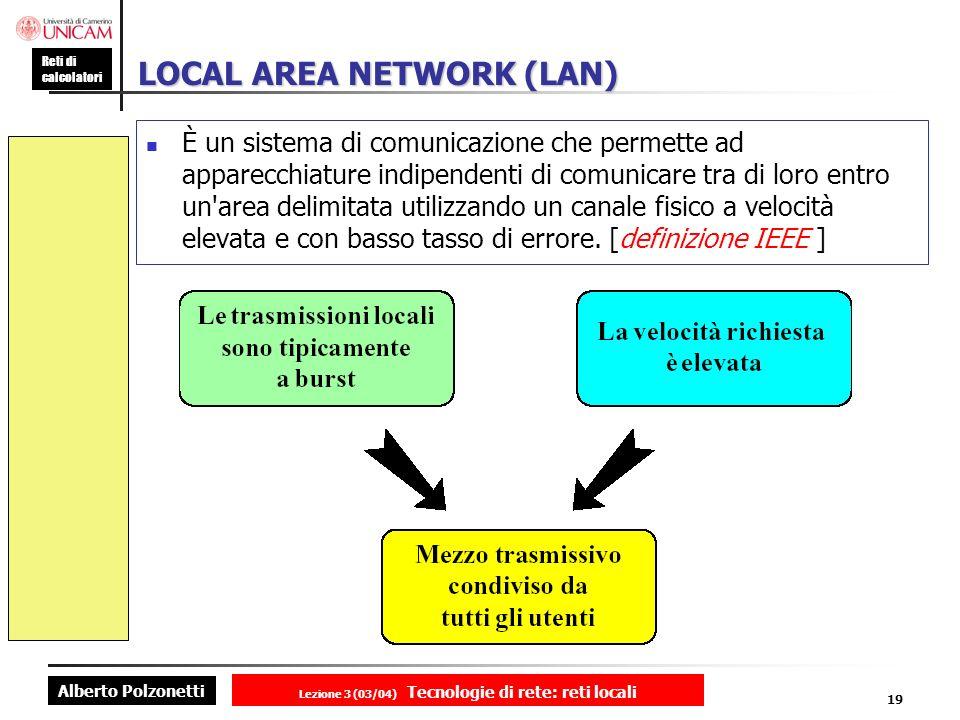Alberto Polzonetti Reti di calcolatori Lezione 3 (03/04) Tecnologie di rete: reti locali 19 LOCAL AREA NETWORK (LAN) È un sistema di comunicazione che