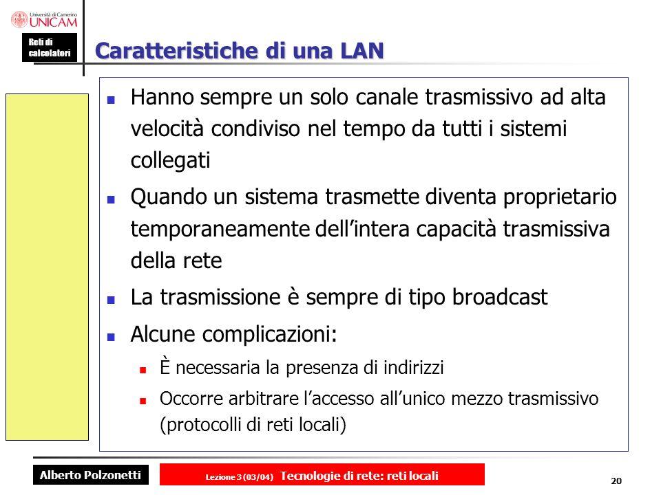 Alberto Polzonetti Reti di calcolatori Lezione 3 (03/04) Tecnologie di rete: reti locali 20 Caratteristiche di una LAN Hanno sempre un solo canale tra