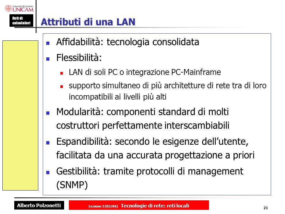 Alberto Polzonetti Reti di calcolatori Lezione 3 (03/04) Tecnologie di rete: reti locali 21 Attributi di una LAN Affidabilità: tecnologia consolidata