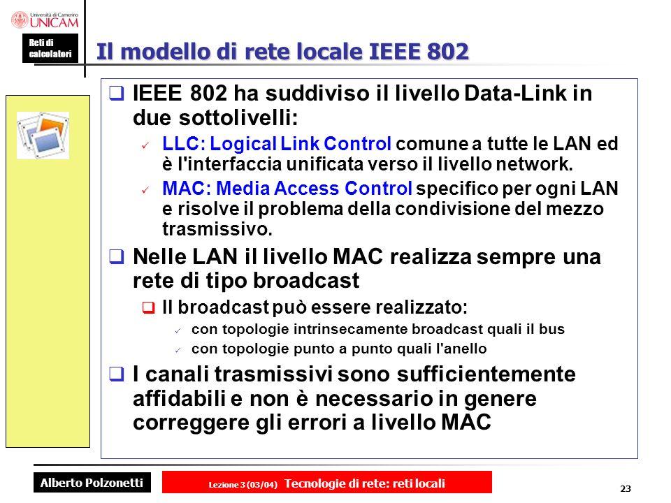 Alberto Polzonetti Reti di calcolatori Lezione 3 (03/04) Tecnologie di rete: reti locali 23 Il modello di rete locale IEEE 802 IEEE 802 ha suddiviso i