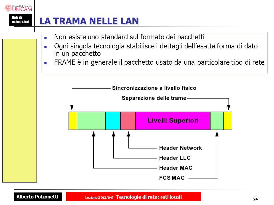 Alberto Polzonetti Reti di calcolatori Lezione 3 (03/04) Tecnologie di rete: reti locali 24 LA TRAMA NELLE LAN Non esiste uno standard sul formato dei