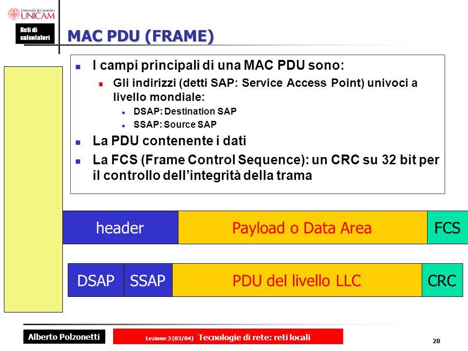 Alberto Polzonetti Reti di calcolatori Lezione 3 (03/04) Tecnologie di rete: reti locali 28 MAC PDU (FRAME) I campi principali di una MAC PDU sono: Gl