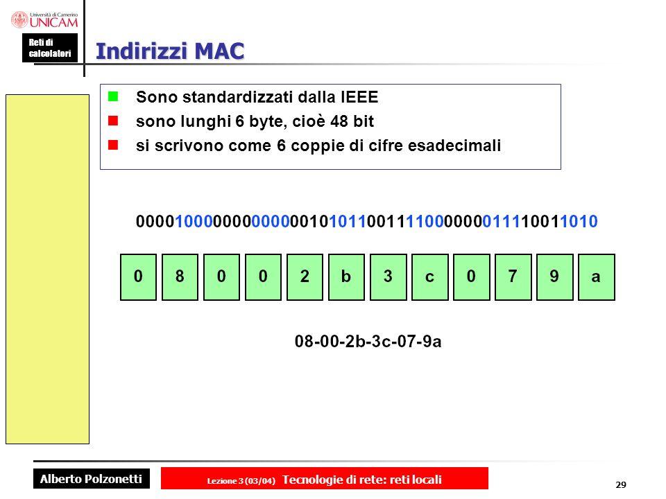 Alberto Polzonetti Reti di calcolatori Lezione 3 (03/04) Tecnologie di rete: reti locali 29 Indirizzi MAC Sono standardizzati dalla IEEE sono lunghi 6