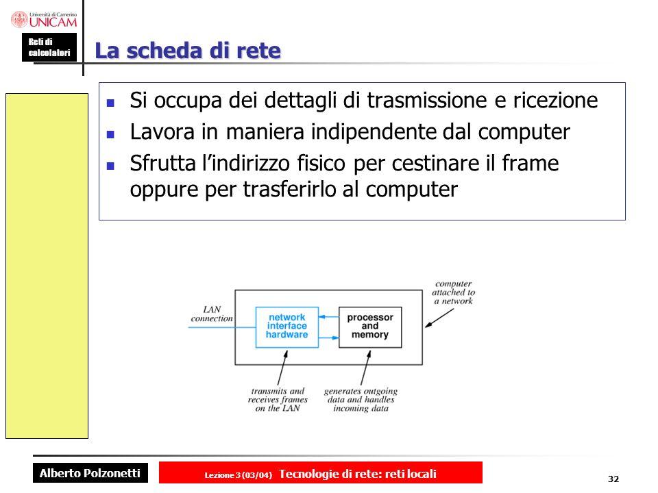 Alberto Polzonetti Reti di calcolatori Lezione 3 (03/04) Tecnologie di rete: reti locali 32 La scheda di rete Si occupa dei dettagli di trasmissione e
