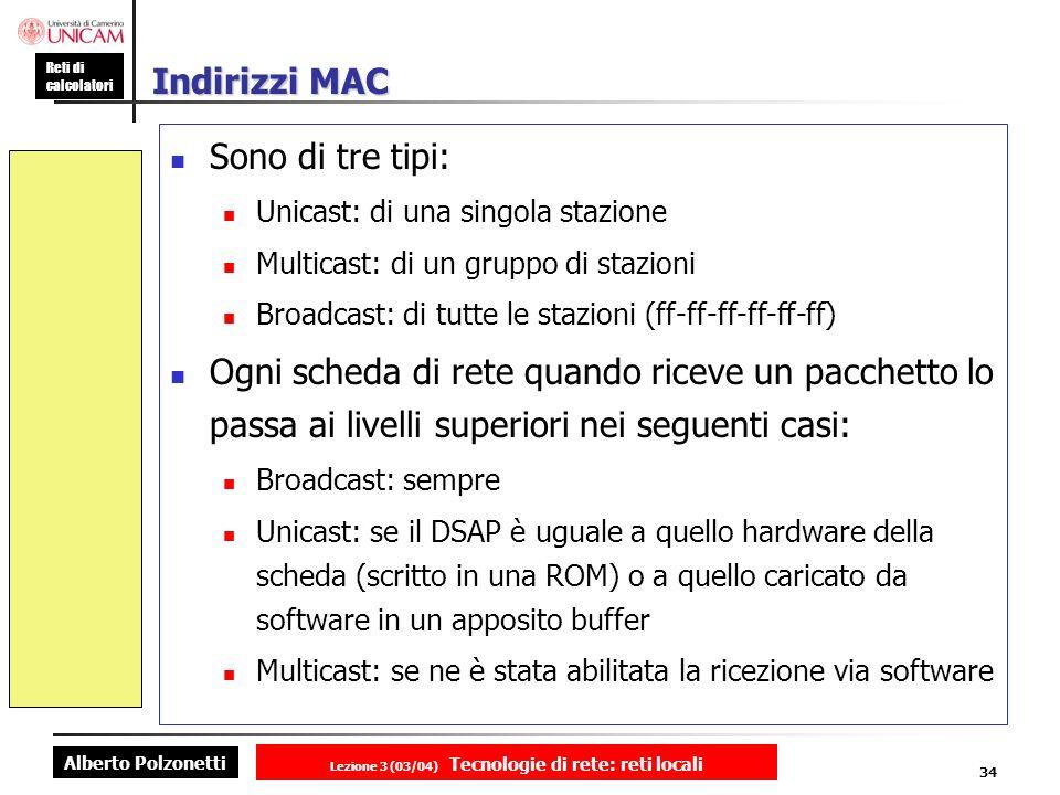 Alberto Polzonetti Reti di calcolatori Lezione 3 (03/04) Tecnologie di rete: reti locali 34 Indirizzi MAC Sono di tre tipi: Unicast: di una singola st
