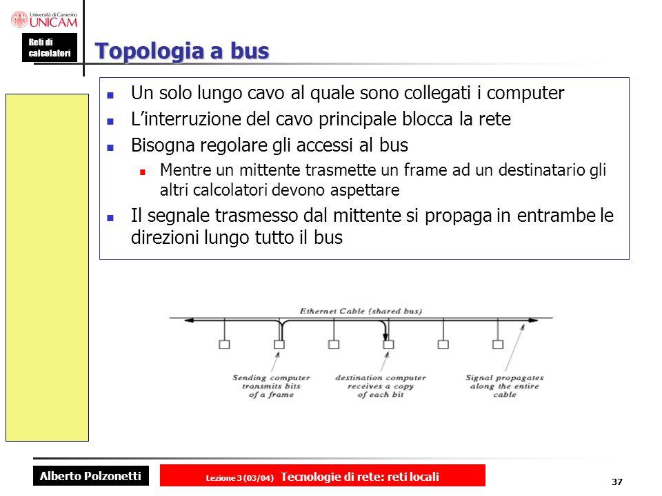 Alberto Polzonetti Reti di calcolatori Lezione 3 (03/04) Tecnologie di rete: reti locali 37 Topologia a bus Un solo lungo cavo al quale sono collegati