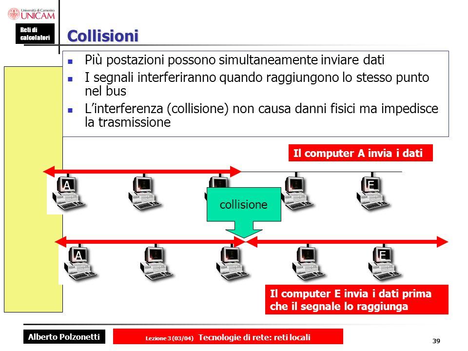 Alberto Polzonetti Reti di calcolatori Lezione 3 (03/04) Tecnologie di rete: reti locali 39 Collisioni Più postazioni possono simultaneamente inviare