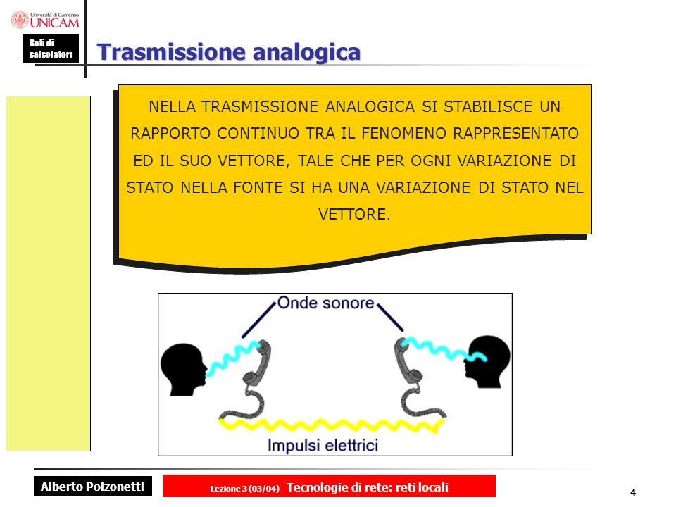 Alberto Polzonetti Reti di calcolatori Lezione 3 (03/04) Tecnologie di rete: reti locali 4 Trasmissione analogica NELLA TRASMISSIONE ANALOGICA SI STAB