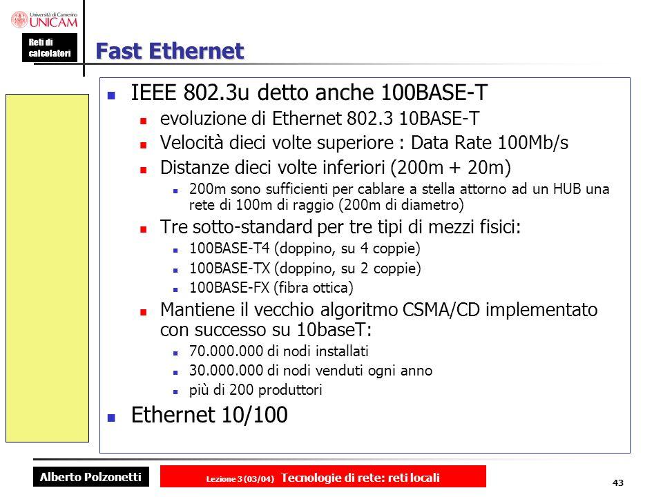 Alberto Polzonetti Reti di calcolatori Lezione 3 (03/04) Tecnologie di rete: reti locali 43 Fast Ethernet IEEE 802.3u detto anche 100BASE-T evoluzione