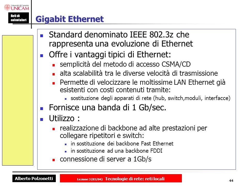 Alberto Polzonetti Reti di calcolatori Lezione 3 (03/04) Tecnologie di rete: reti locali 44 Gigabit Ethernet Standard denominato IEEE 802.3z che rappr