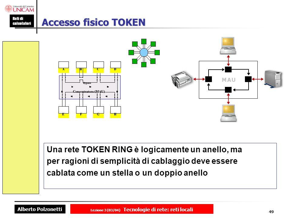 Alberto Polzonetti Reti di calcolatori Lezione 3 (03/04) Tecnologie di rete: reti locali 49 Accesso fisico TOKEN Una rete TOKEN RING è logicamente un