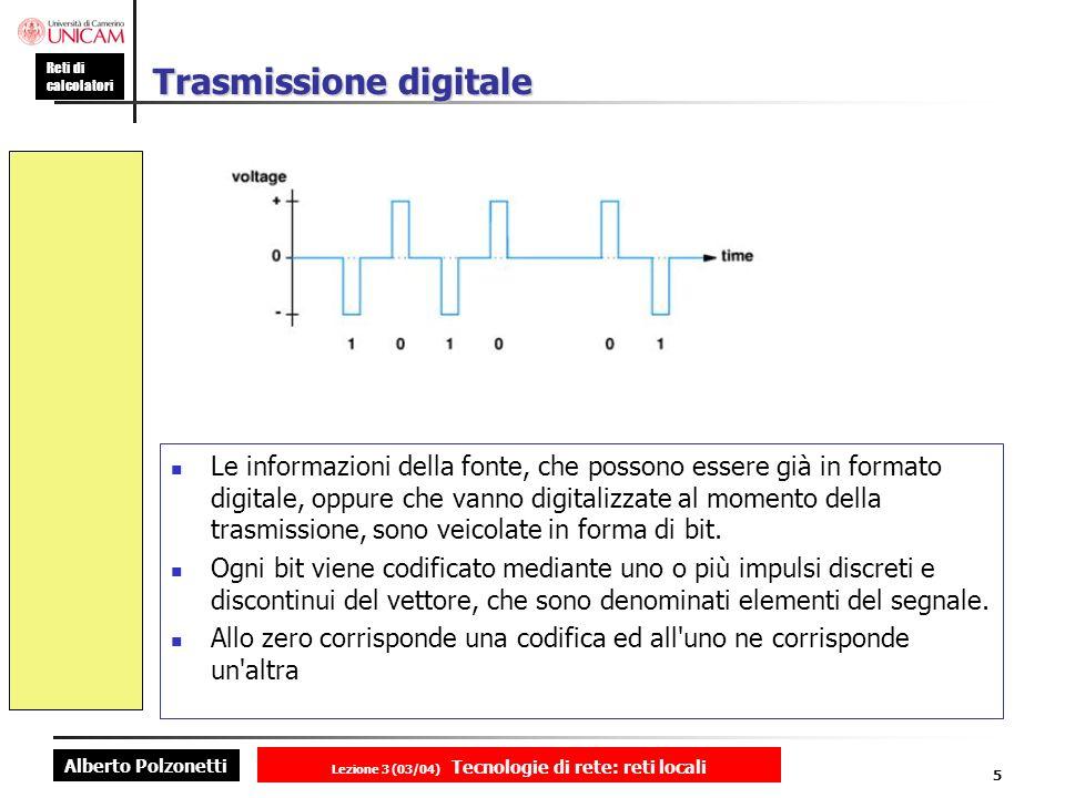 Alberto Polzonetti Reti di calcolatori Lezione 3 (03/04) Tecnologie di rete: reti locali 5 Trasmissione digitale Le informazioni della fonte, che poss