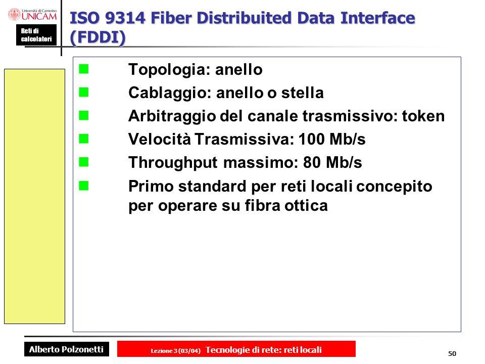 Alberto Polzonetti Reti di calcolatori Lezione 3 (03/04) Tecnologie di rete: reti locali 50 ISO 9314 Fiber Distribuited Data Interface (FDDI) Topologi