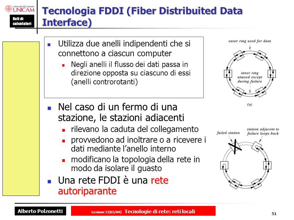 Alberto Polzonetti Reti di calcolatori Lezione 3 (03/04) Tecnologie di rete: reti locali 51 Tecnologia FDDI (Fiber Distribuited Data Interface) Utiliz